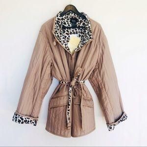 NWT Dennis Basso 100% Silk Leopard Lined Coat 3X